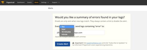 Setting up alerts a default alert.