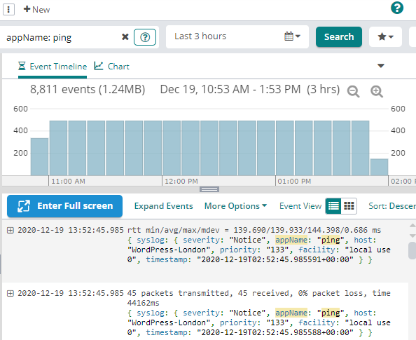 View of ICMP traffic in the Loggly event timeline view